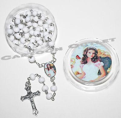 12 PCS QUINCEANERA FAVORS BRACELETS SWEET 16 RECUERDOS WHITE BEADS MIS 15 rosary