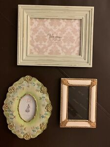 Lot-3-Vintage-Design-Victorian-Style-Picture-Frames-Mint-Green-Gold-Wood-Resin
