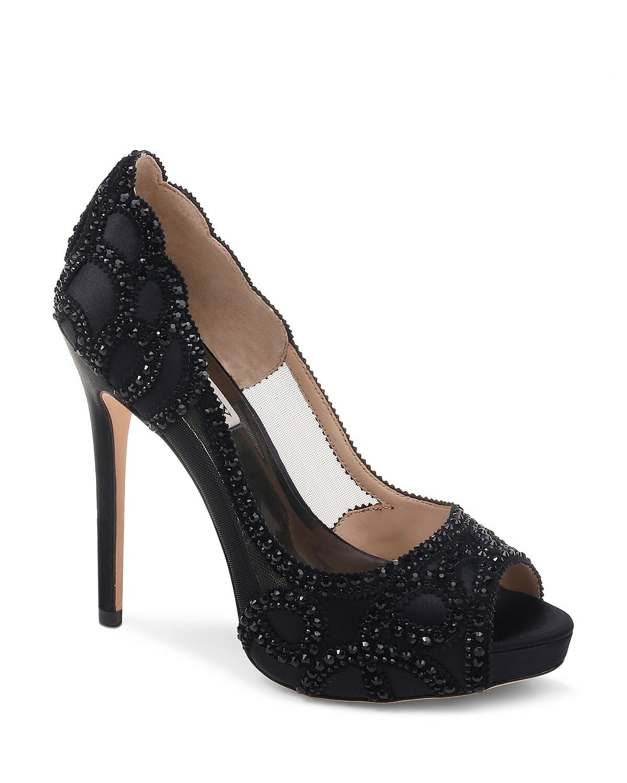 Badgley Mischka shoes Witney Embellished Satin Mesh Platform High Heel Pumps 10