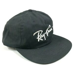 Vintage-Ray-Ban-Snapback-Hat-Cap-Black-White-Embroidery-Logo-Made-in-USA