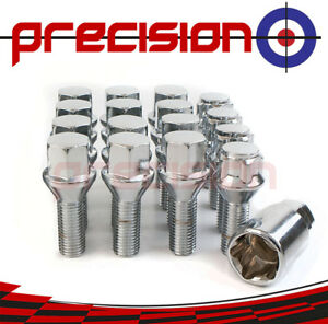 12-Chrome-Alloy-Wheel-Bolts-amp-4-Locking-Nuts-for-BMW-Mini-Cooper-2001-to-2006
