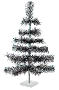 24/'/' Black Christmas Tree Tinsel Feather Style Holiday Tree 2FT Table-Top