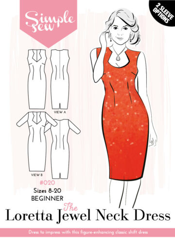 Womens BEGINNER The Loretta Jewel Neck Dress UK SIZE 8-18 Sewing Pattern