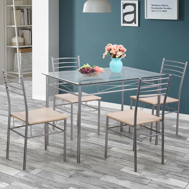 Miraculous Silver 5 Piece Dining Set Table Glass And 4 Chairs Kitchen Breakfast Furniture Gamerscity Chair Design For Home Gamerscityorg