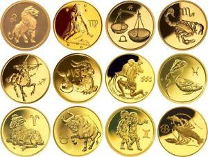 12x 50 Rubles Russia 12x 1/4 oz Gold 2003-2004 Zodiac Signs Complete Set Unc