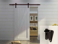 6.6ft Country Dark Coffee Steel Sliding Wood Door Hardware Black Antique W/lock on sale