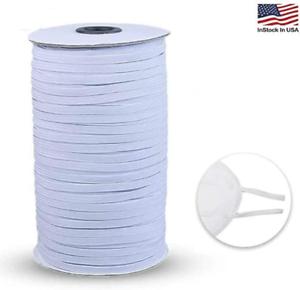 "Knitted Elastic 1//8/"" Trim 100 Yard Roll White Elastic fold over high quality"