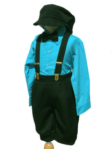 2T, Toddler Boys Knickers Vintage Outfit Set Sz: 24 Month Turquoise//Black