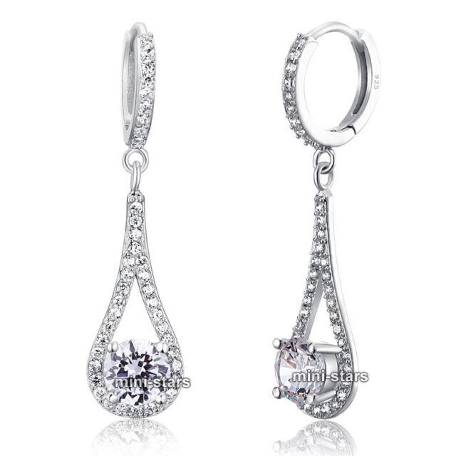 Solid 925 Sterling Silver 1 Carat Round Cut Bridal Wedding Earrings FE8019 3fa2632377a3
