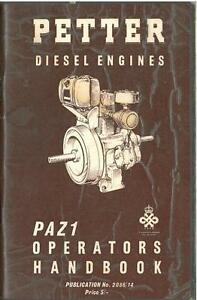 petter diesel engine paz1 operators manual ab2 paz 1 ebay rh ebay com au