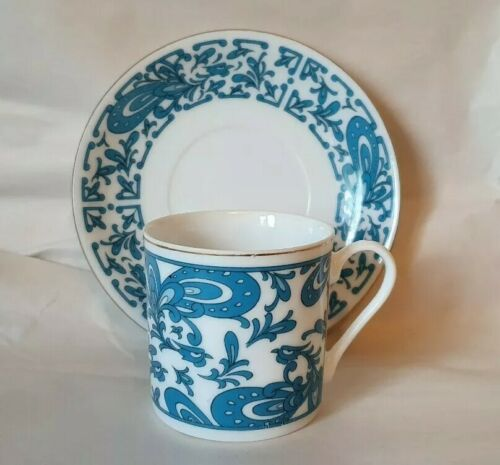 1 Vintage Blue Demitasse Cup /& Saucer Set Gold Trim Coffee Espresso Tea One