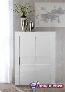 Dettagli su EASY Mobile Madia Moderno Verticale 2 Ante Bianco laccato  lucido con ripiani
