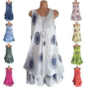 Plus-Size-Womens-Sleeveless-Tunic-Mini-Dress-Loose-Summer-Beach-Bikini-Cover-Up