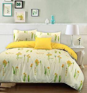 Summer-Breeze-Soft-100-Cotton-Floral-Yellow-Wild-Flower-Duvet-Cover-Bedding-Set