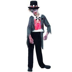 Mens Zombie Corpse Dead Groom Costume Adult Ghost Halloween Fancy Dress M L XL