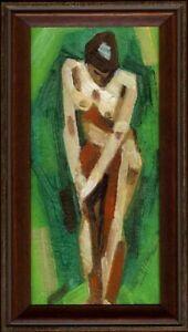 Russischer-Realist-Expressionist-Ol-Pappe-034-Akt-034-20x10-cm-Rahmen-22x12-cm
