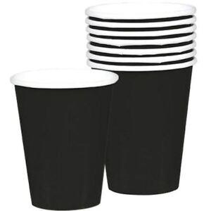 8-Black-Vasos-de-Papel-256-Ml-266-Ml-Fiesta-Cumpleanos-Boda-Color-Solido-Vajilla