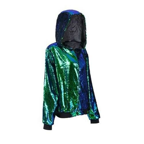 GREEN Sequin Hoodie - Festival Hooded Jacket - Various Sizes