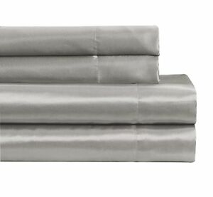 Fancy-Linen-Soft-Silky-Satin-Solid-Silver-Deep-Pocket-Bridal-Sheet-Set-All-Sizes
