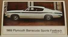 "Formula /""S/"" Dealer Promo Postcard VG ^ 1969 Plymouth BARRACUDA Sports Fastback"