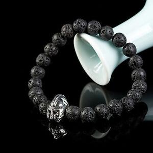 Men-039-s-Black-Lava-Rock-Stone-Beaded-Bracelet-Charm-Helmet-Bracelet-Jewelry-Gift