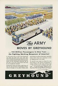 Details about 1943 Greyhound Bus Line Ad Move This Army War Time Efforts  WWII Buses Travel