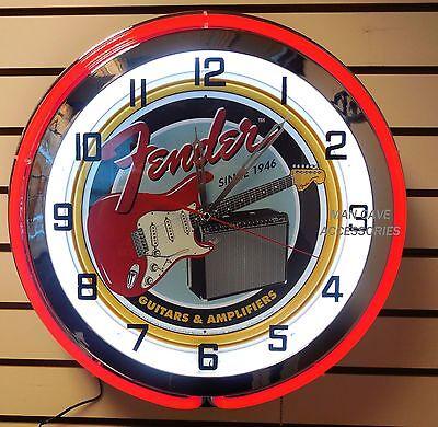 "18"" FENDER Guitar & Amp Sign Double Neon Clock Music Studio Garage Band"