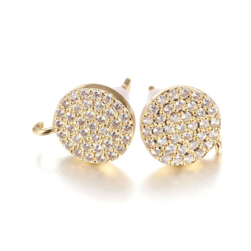 3 Pairs Brass Pave Cubic Zirconia Earring Posts Open Loop Ring Gold Tone 11x9mm