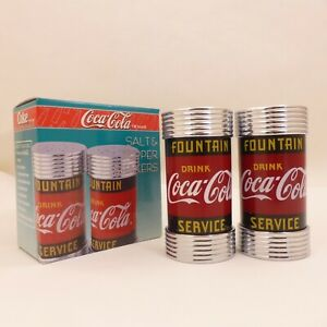 NOS-Vintage-1997-Coca-Cola-Fountain-Service-Salt-Pepper-Shakers-Diner-Collection