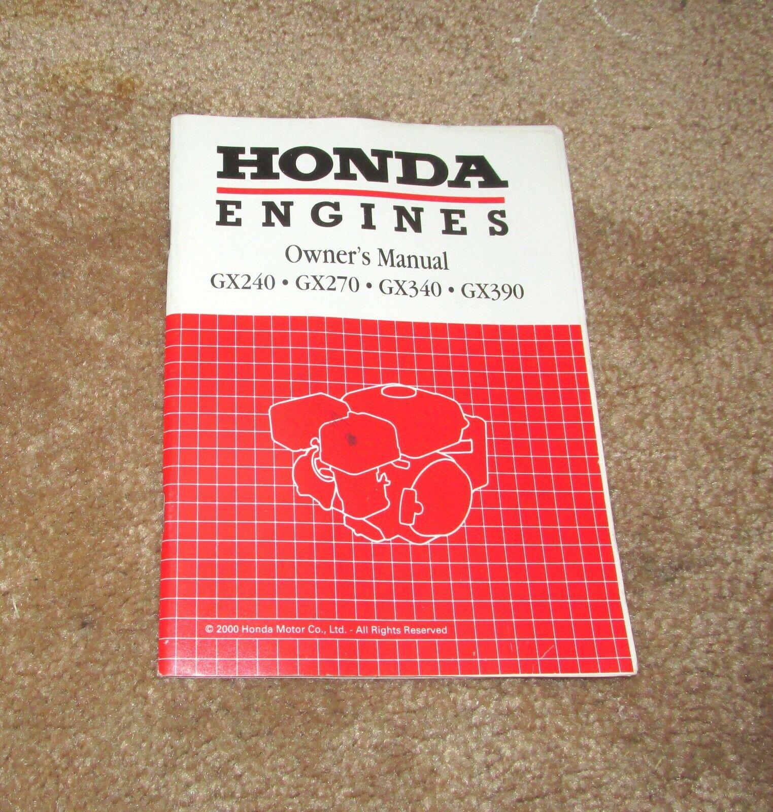 Honda OEM Owner/'s Manual  GX240 GX270 GX340 GX390 Engine Original Shop Book