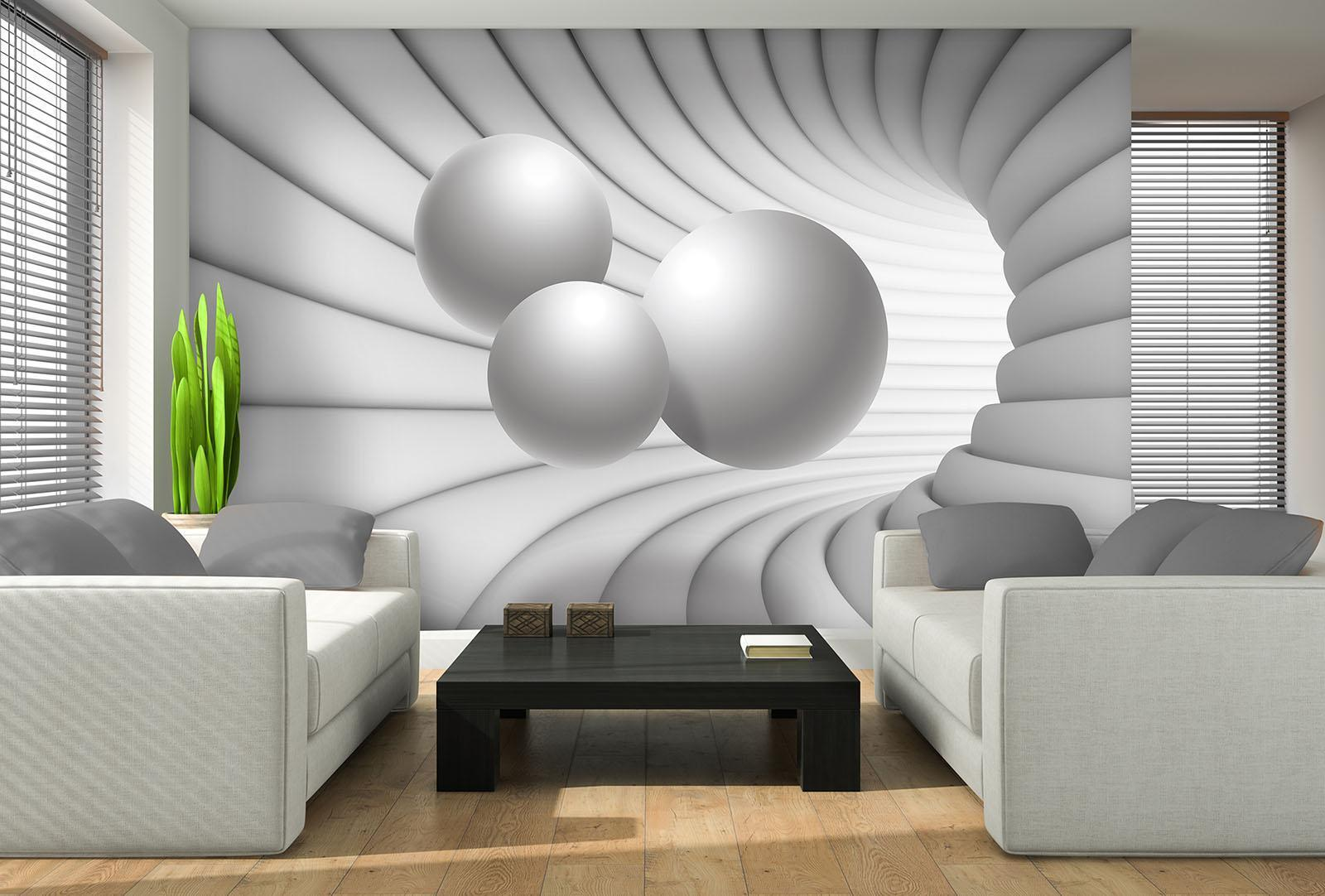 Photo Wallpaper Mural  10141_P 3D Tunnel with Weiß Spheres Abstract art Abstrac