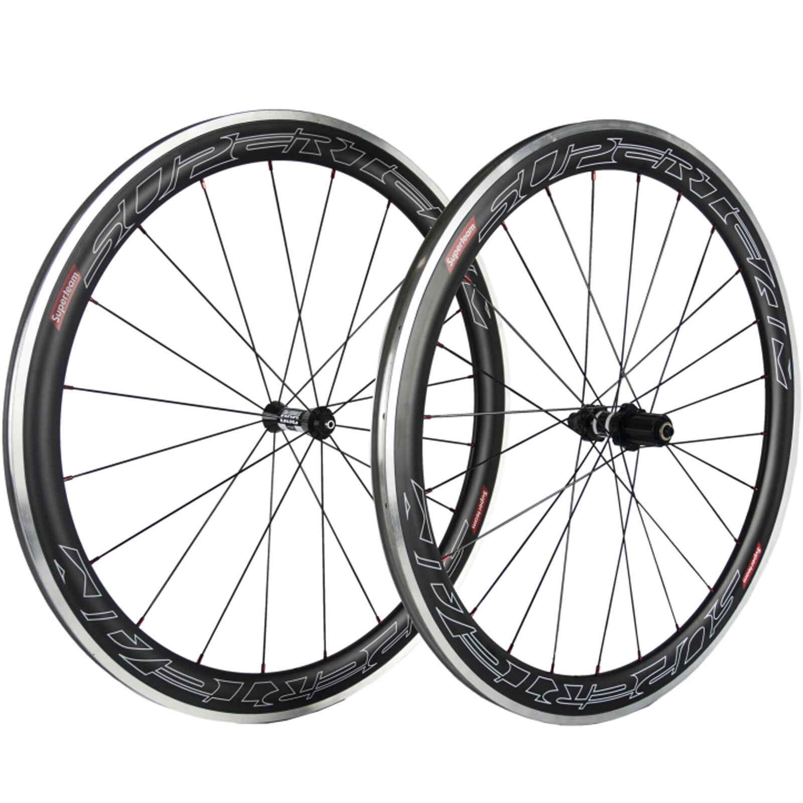SUPERTEAM 50mm Carbon  Clincher Wheelset Alloy Brake Line DT350 Road Bike Wheels  store online
