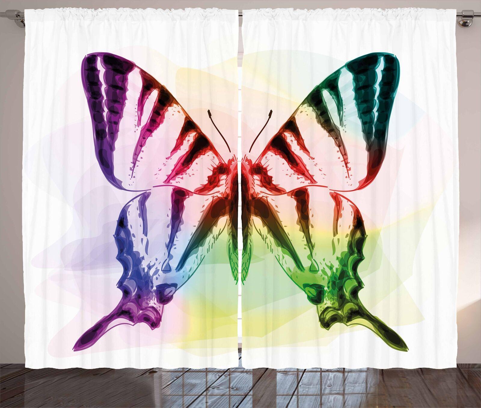 Conjunto de 2 Paneles Cortinas Swallowtail Mariposa Decoración 5 Tamaños Disponibles Ventana Cortinas