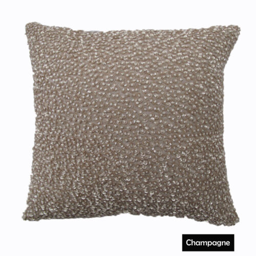 30cm x 30cm RED BLACK CHAMPAGNE CORALS Beaded /& Filled Cushion