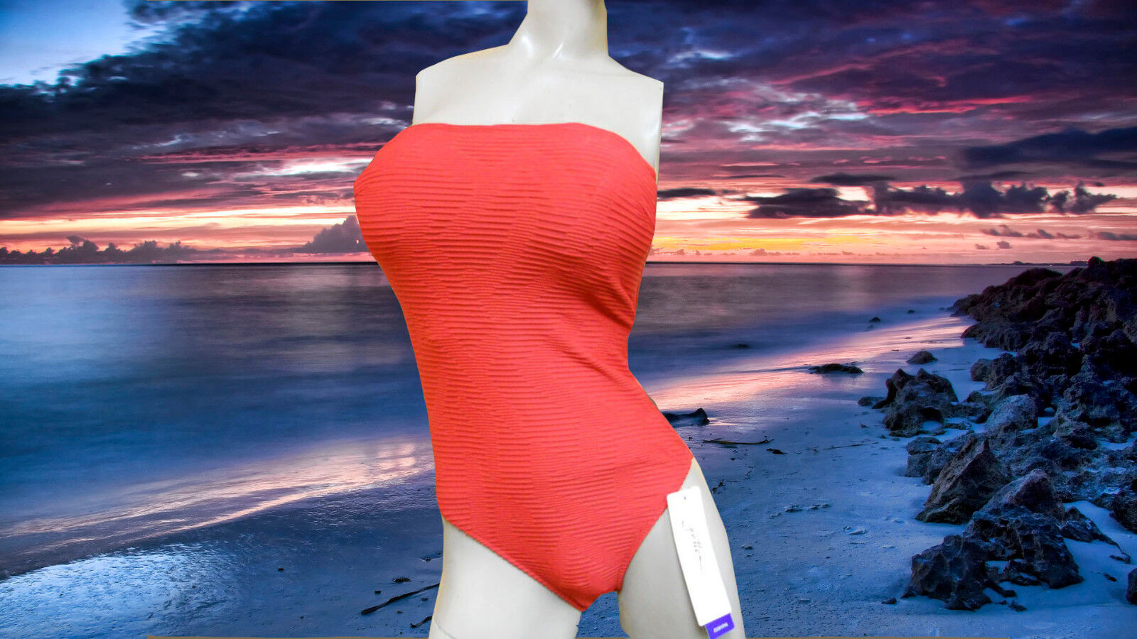 b3a67810e437f NWT GOTTEX Flame Red RUCHED 1pc removable straps BATHING SUIT swimsuit sz-  10