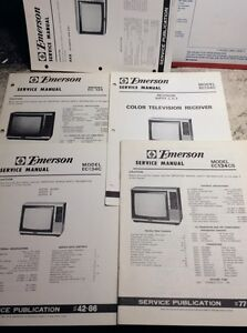 Details about 5 RETRO EMERSON ORIGINAL FACTORY TV SERVICE MANUALS for  series EC-134 -my lot#63