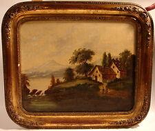 Biedermeier Romantiker um 1850 Öl Leinwand originaler Blattgold Rahmen