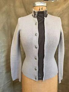 HWA Anthropologie Gray MERINO BELTED CARDIGAN Sweater Velvet XS S ...