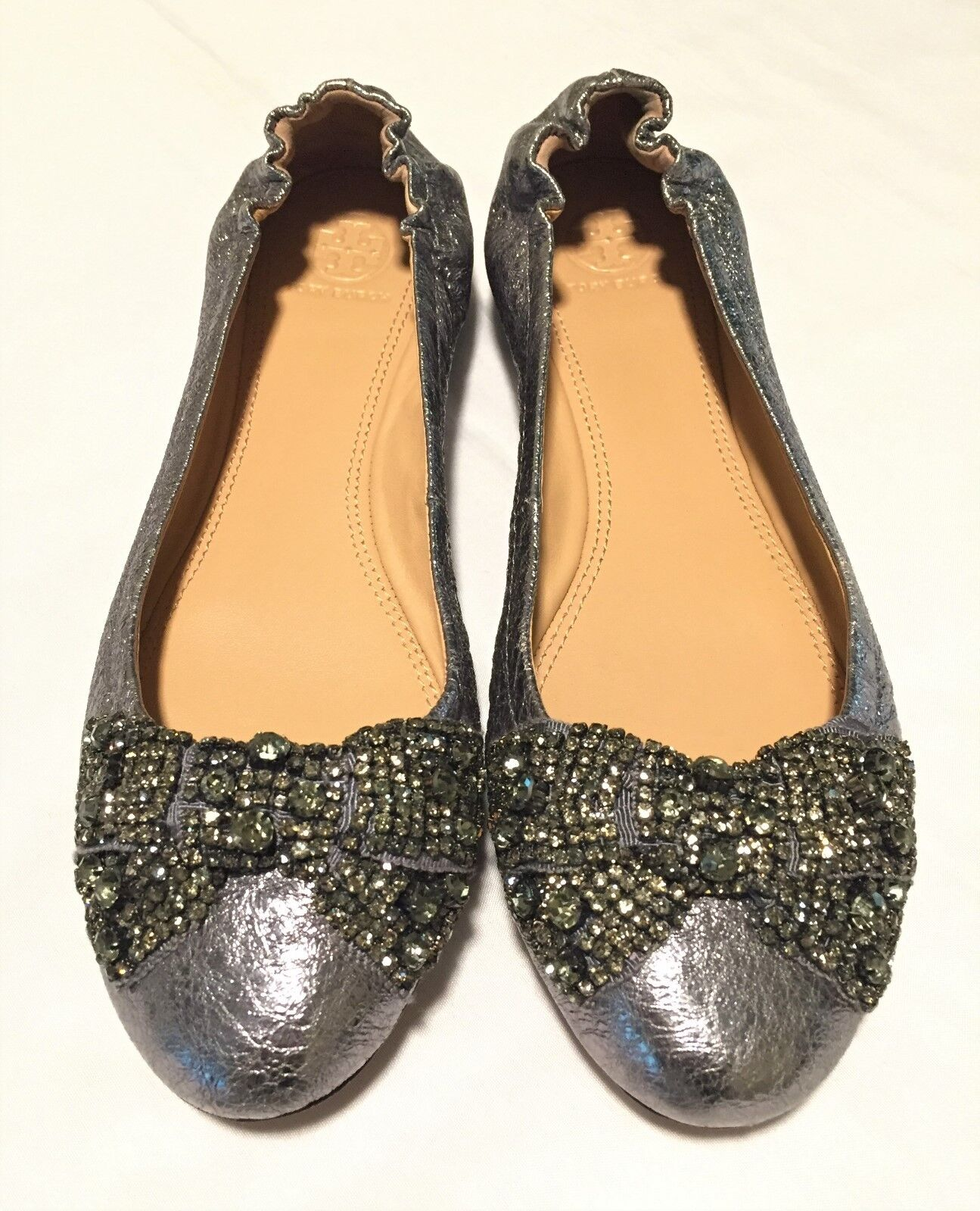 Tory Burch Silver Crystal Jeweled Bow All Leather Women Ballet Flat shoes Sz 8.5M