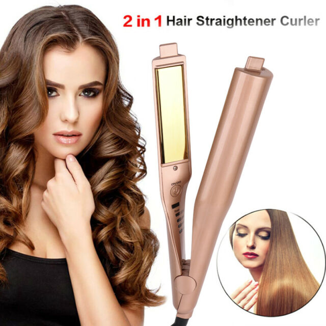 Gold 2 in 1 Straightening Iron Hair Curler Curling Iron Professional Hair