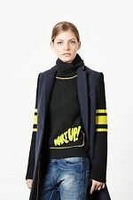 MIRA MIKATI KNIT-SLEEVE NAVY COAT UK 10 US 6
