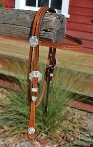 Hansen-Western-Gear-5-8-034-Browband-Show-Headstall-w-Venice-Style-Silver