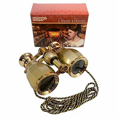 HQRP Golden Opera Glasses Theater Binoculars Concert Binoculars w/ Chain