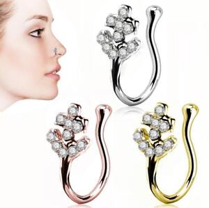No-piercing Stainless Steel Crystal Ear Lip Hoop Ring Nose Clip Women Jewelry Eb