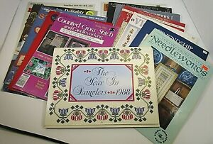 Lot of 13 Vintage CrossStitch Books Patterns Pamphlets Charts Mid-1980s