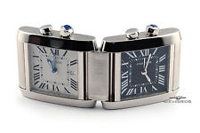 Cartier Limited Edition Silver Duel Time-Zone Tank Travel Clock