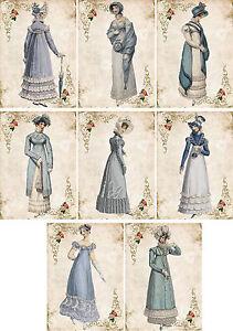 Vintage-inspired-regency-Jane-Austen-cards-tags-set-of-8-with-envelopes