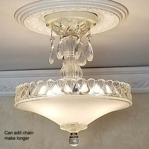 132z-Vintage-Antique-Glass-Ceiling-Lamp-Light-Fixture-chandelier-3-Lights-white