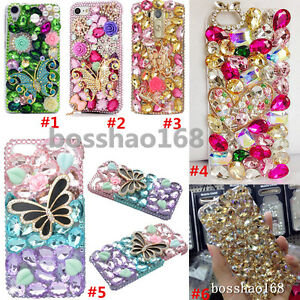 3D-Handmade-Luxury-Bling-Crystal-Diamond-Rhinestone-Hard-Clear-back-Case-Cover-D