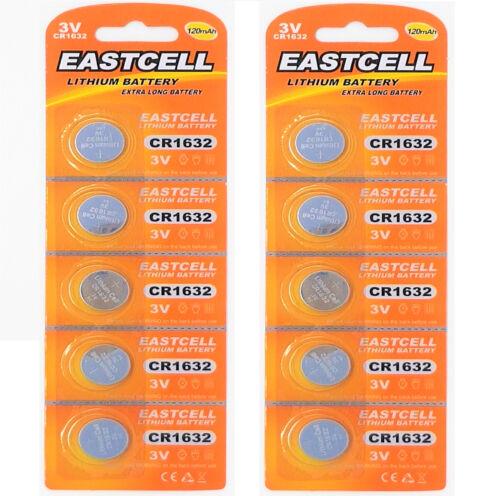 10 x CR1632 3V Lithium Batterie auf 2 Blistercard a 5 Stück EASTCELL